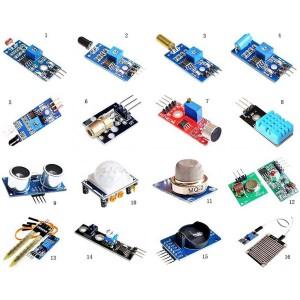 Набор датчиков, сенсоров и модулей для Arduino / Raspberry - 16 шт Arduino совместимые наборы
