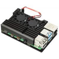Корпус для Raspberry Pi 4 с вентиляторами (алюминий / чёрный)