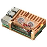 Корпус для Raspberry Pi 4 с вентиляторами (алюминий / золотой) Корпусы и охлаждение