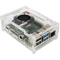 Прозрачный акриловый корпус для Raspberry Pi 4B с поддержкой вентиляторов