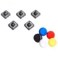 Кнопки тактовые DIP 12x12x7,3 мм с шляпками, набор из 5 шт