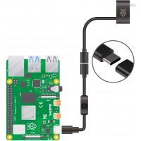 Провод питания для Raspberry Pi, USB-C, с выключателем, черный
