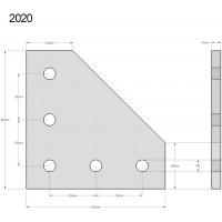 Соединительная пластина 90 град. для алюминиевого профиля 20х20 для станков ЧПУ, 3d принтера